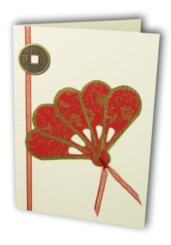 Greetings card Handmade - Feng Shui I-Ching coin & red oriental fan